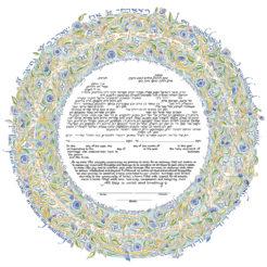 15-1 Song of Love Papercut Ketubah Blue