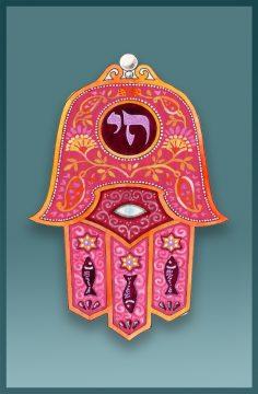 Travelers Prayer Car Mezuzah Hamsa Chai
