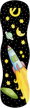 MZ112 Rocket Ship Mezuzah by Mickie Caspi