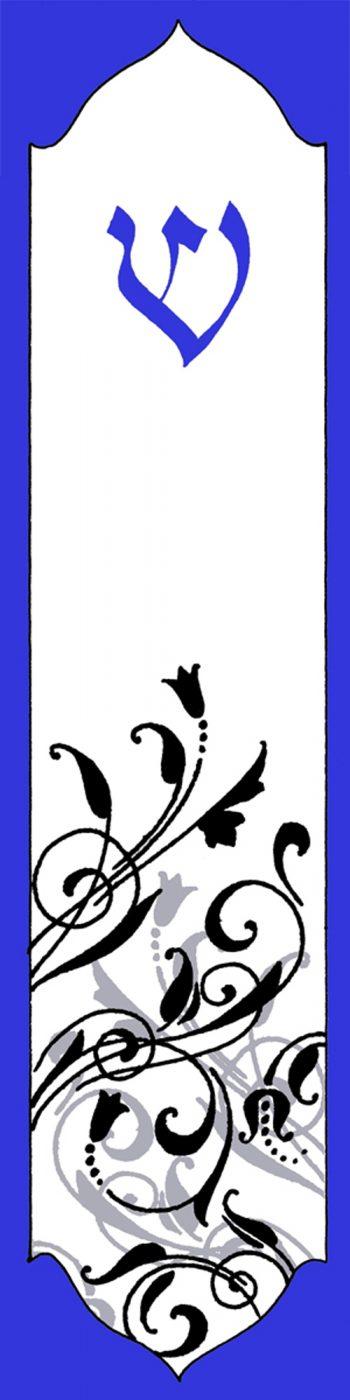 MZ122 Blue Vines Mezuzah by Mickie Caspi