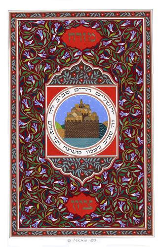 Jerusalem Mizrach Original Art by Mickie Caspi