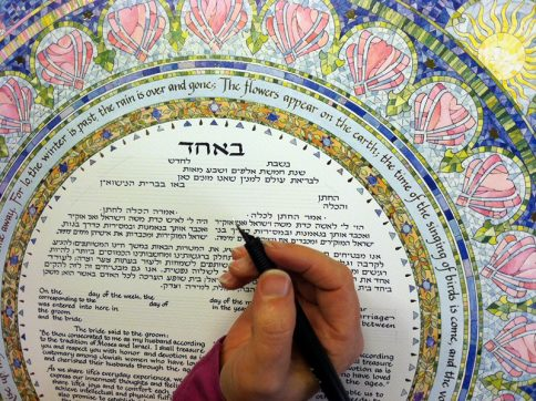 05-1 Seasons Ketubah hand calligraphy personalization by Mickie Caspi Egalitarian Reform text