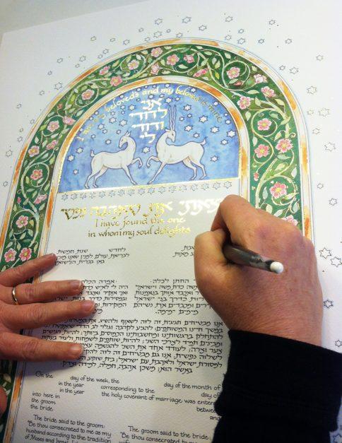 Deer Ketubah Calligraphy Personalization by Mickie Caspi