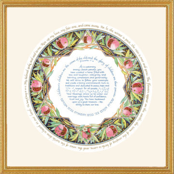 Parents Gift Pomegranate Jewish Wedding Framed Art