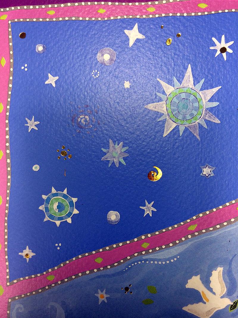 11-2 Celestial Jerusalem Ketubah by Mickie Caspi, element enlargement