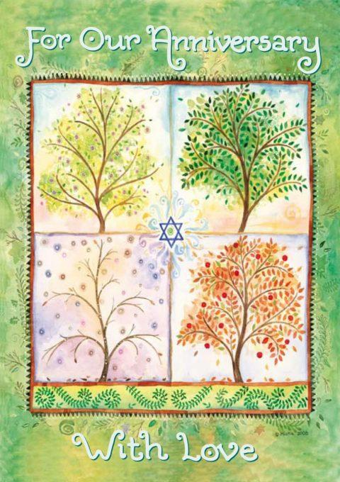 AV538 Anniversary Seasons Illuminated Art Card by Mickie Caspi