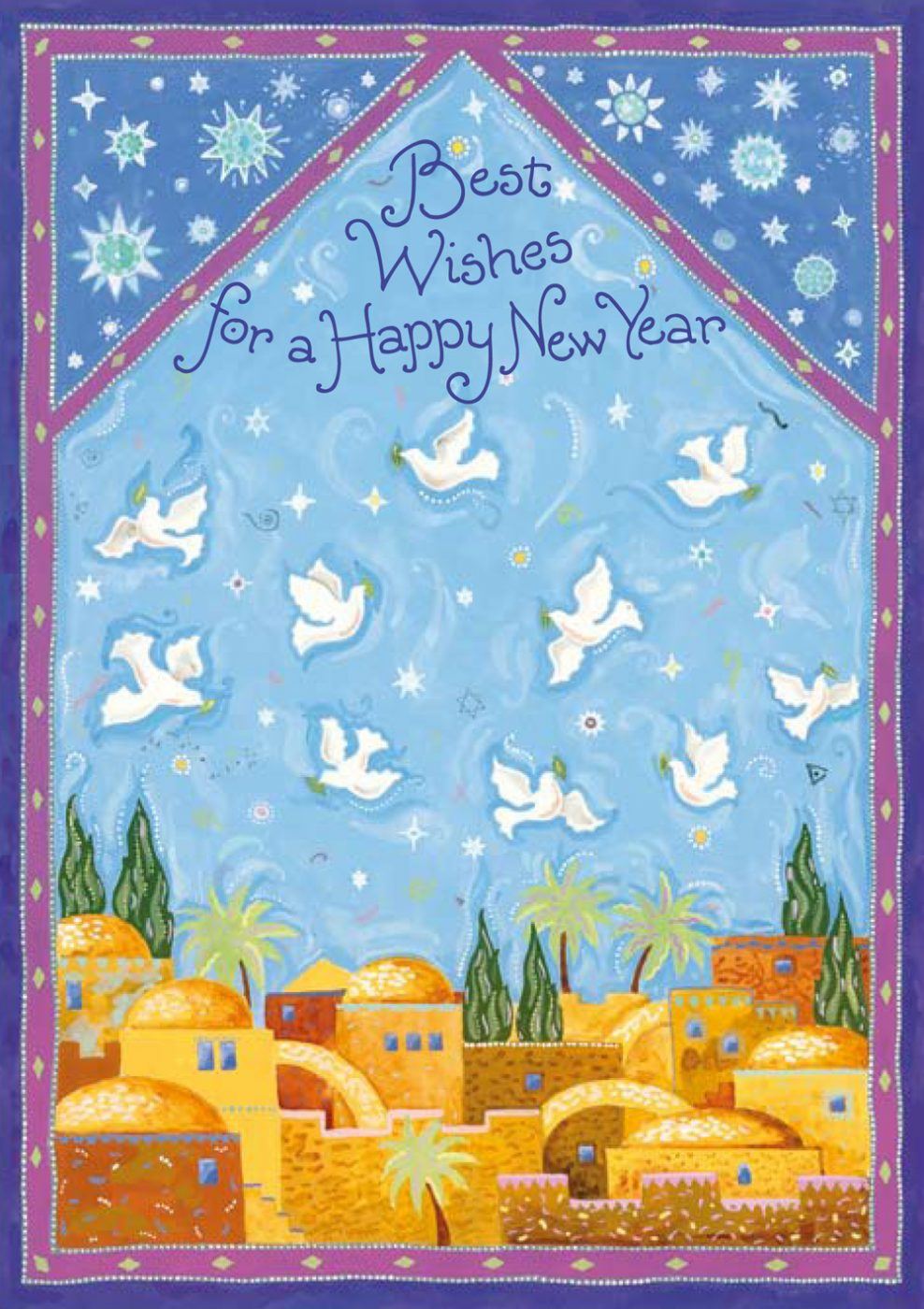 RH534 Jewish New Year Jerusalem Illuminated Art Card by Mickie Caspi