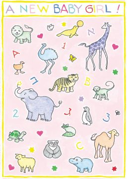 bg38 animals baby girl gift tag by Mickie Caspi