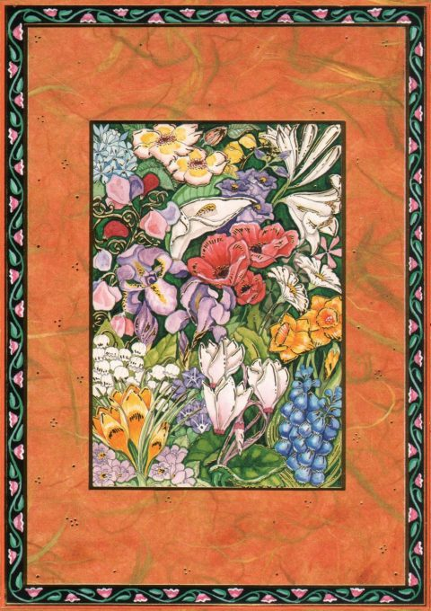 A430 Flowers Jewish Greeting Card by Mickie Caspi