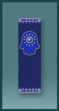 Jewish Car Mezuzah Royal Blue Hamsa