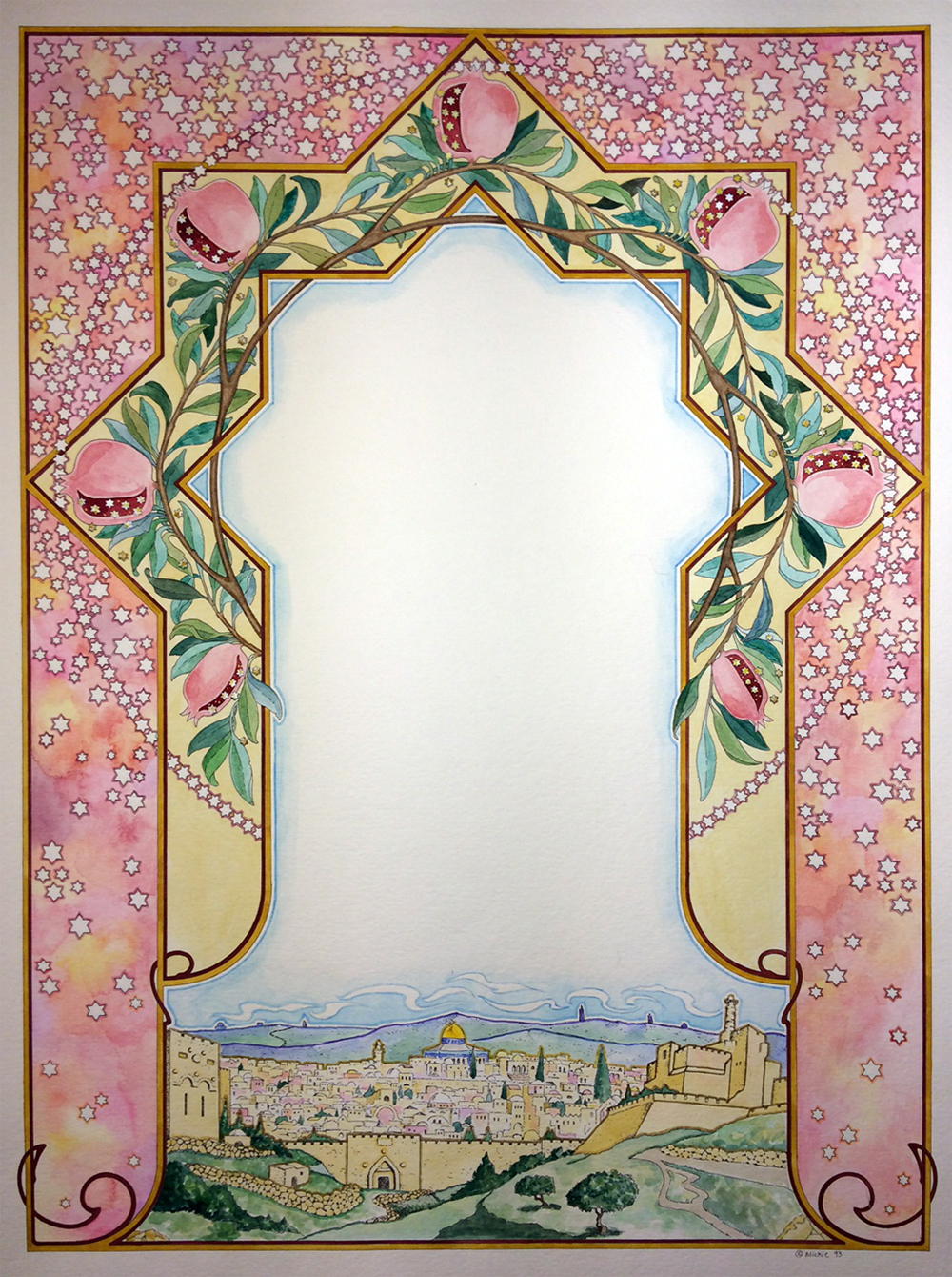 Jerusalem Dawn Original Ketubah by Mickie Caspi