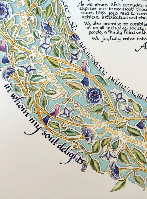 15-1 Song of Love Papercut Ketubah Blue by Mickie Caspi