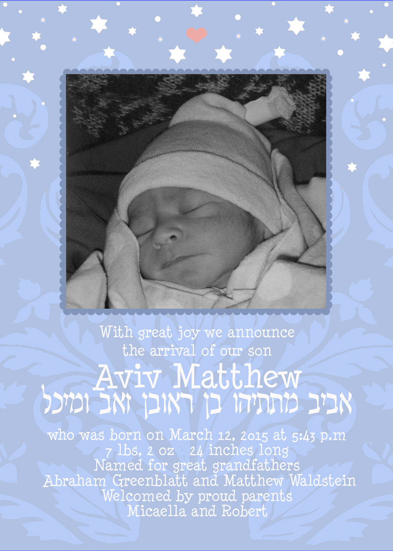 New Baby Boy Stars Announcement by Mickie Caspi
