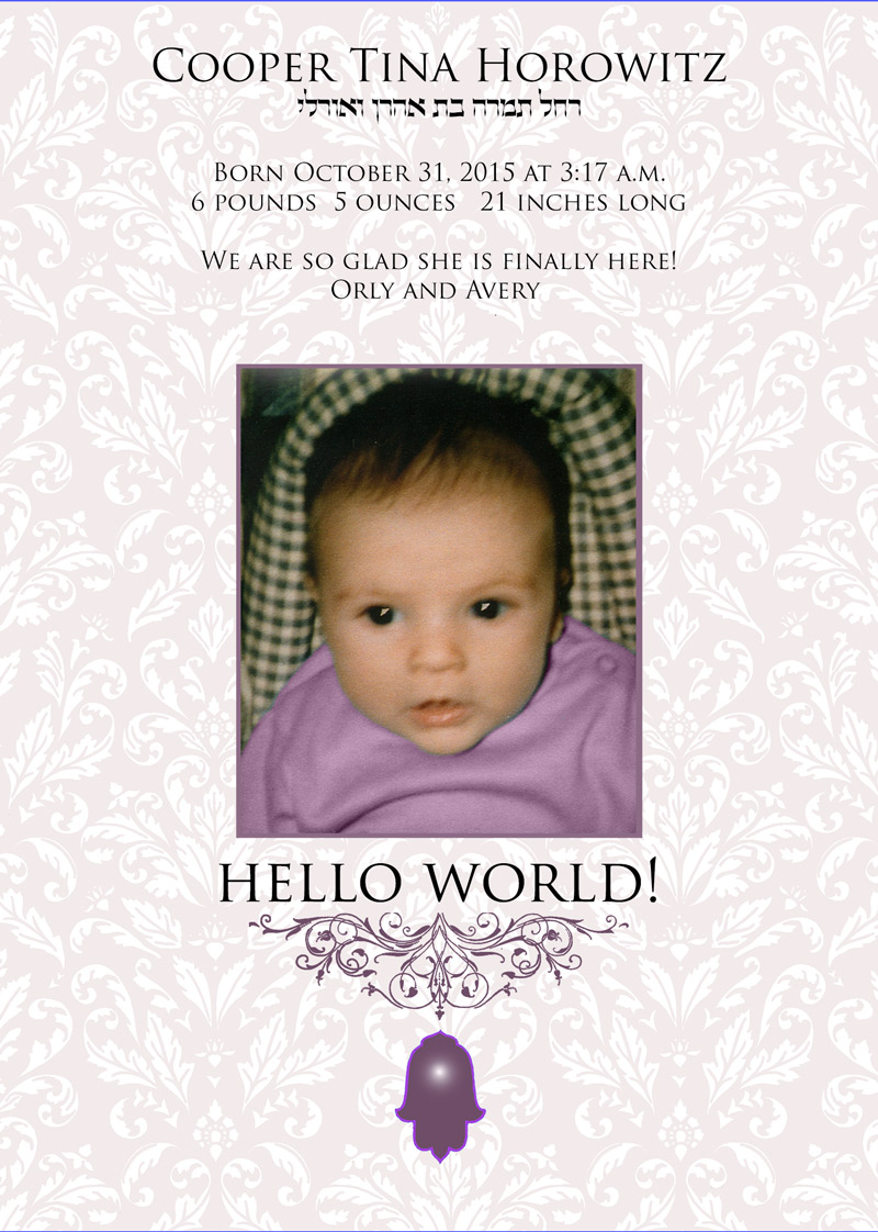 New Baby Girl Hello World Announcement by Mickie