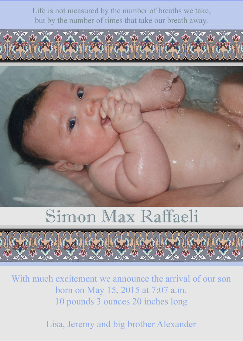 New Baby Boy Bath Announcement by Mickie Caspi
