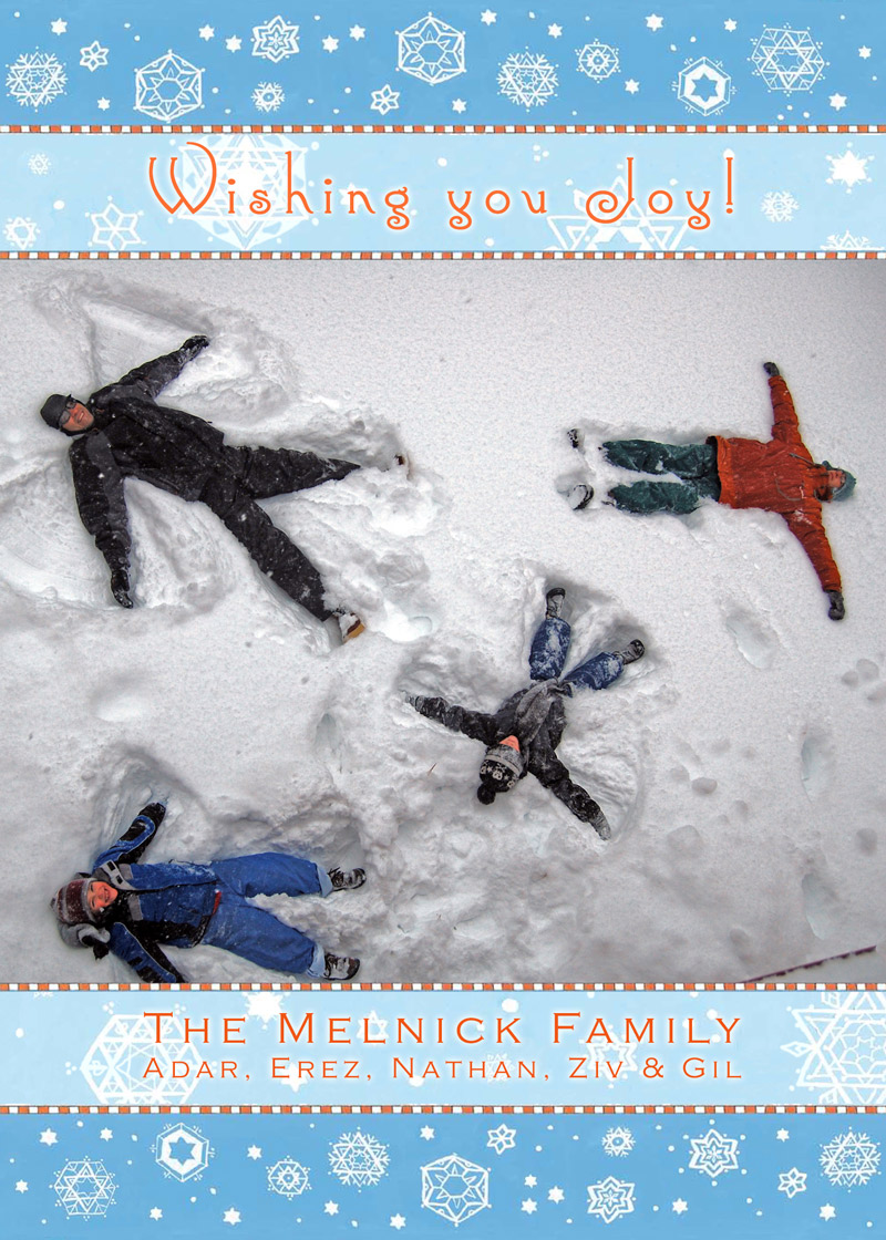 Snowflakes Holiday Greetings Photo Card by Mickie Caspi