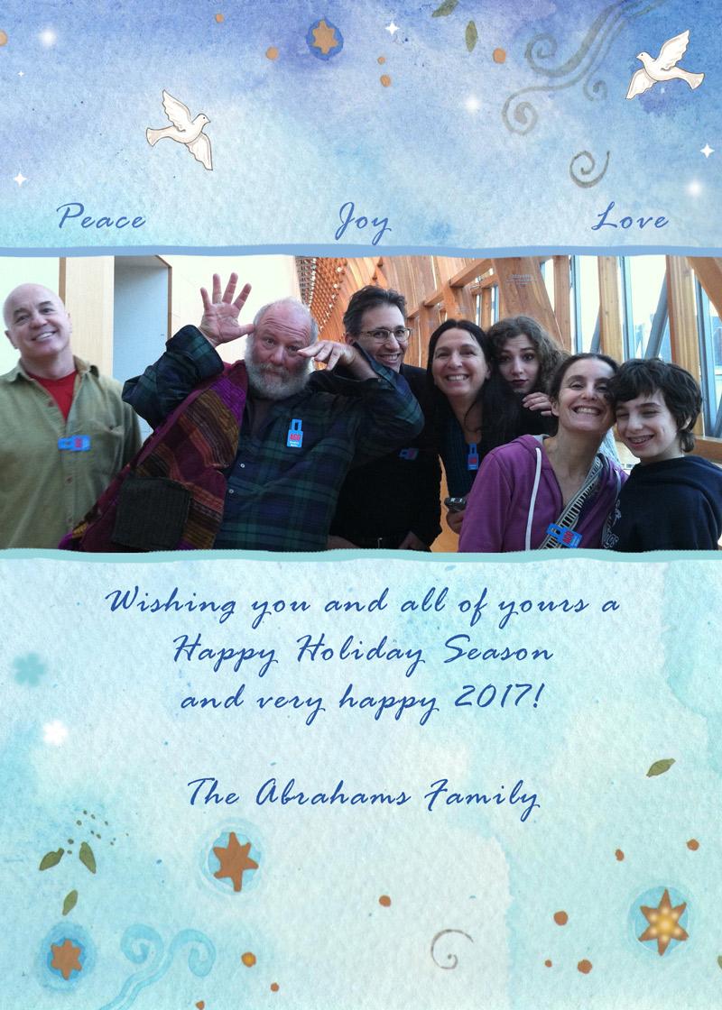 Peace Joy Love Holiday Greetings by Mickie Caspi