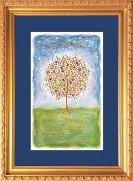 Gen-1 Tree of Life Generations Blessing Framed Art by Mickie Caspi