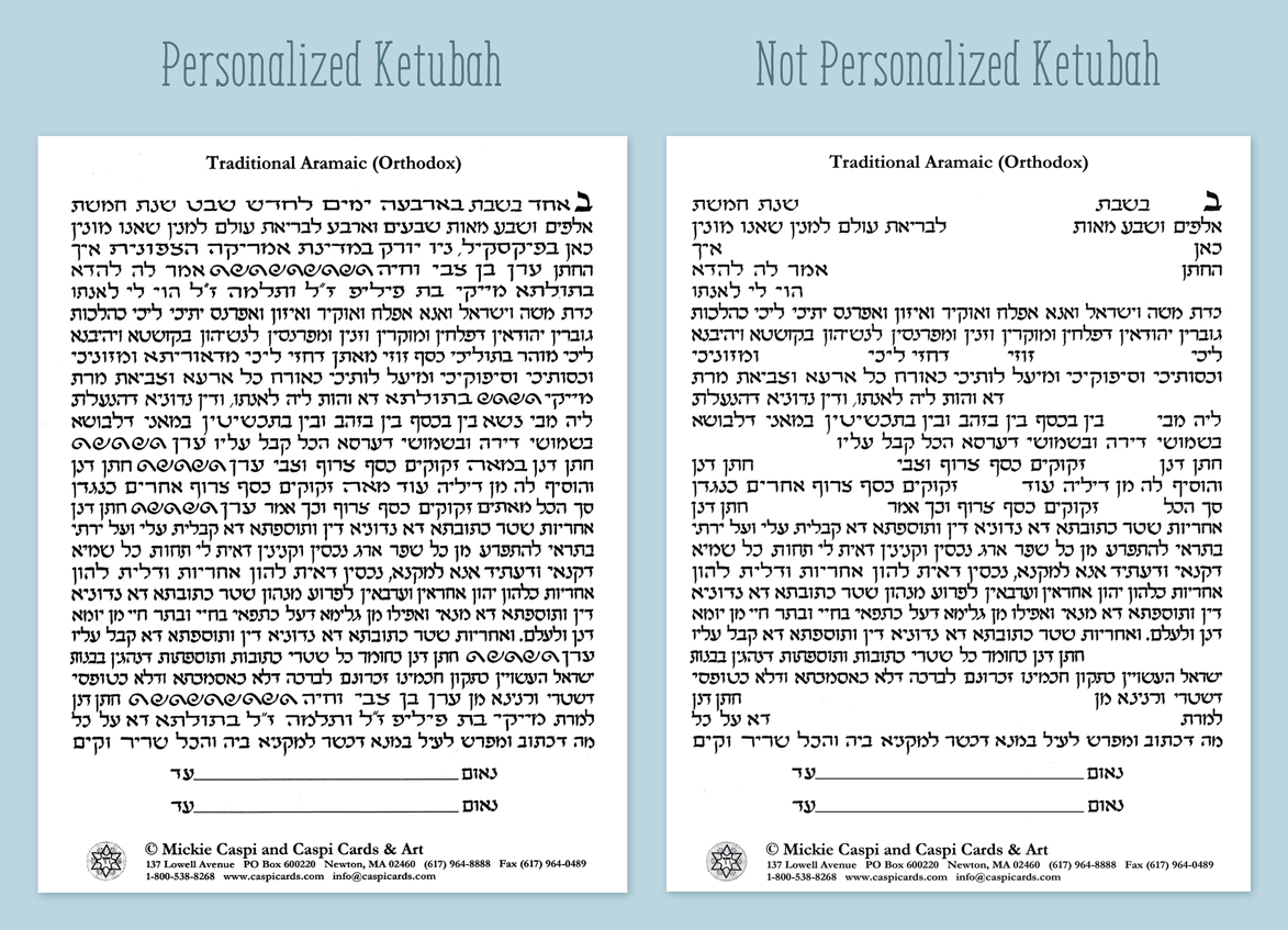 Ketubah Personalization Hand Calligraphy