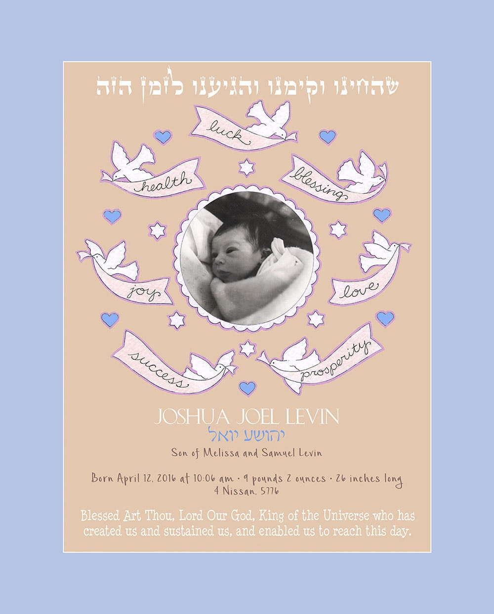 Baby Boy Blessing Wisteria Baby Wall Art G-BB-12c by Mickie Caspi