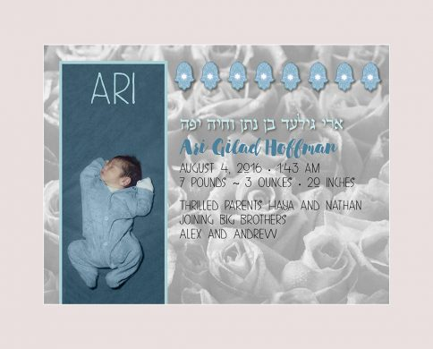 Baby Boy Bed of Roses Ecru Baby Wall Art G-BB-14a by Mickie Caspi