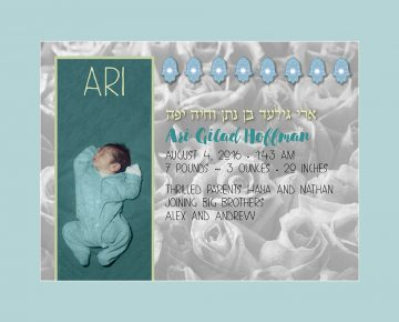 Baby Boy Bed of Roses Seafoam Baby Wall Art G-BB-14b by Mickie Caspi