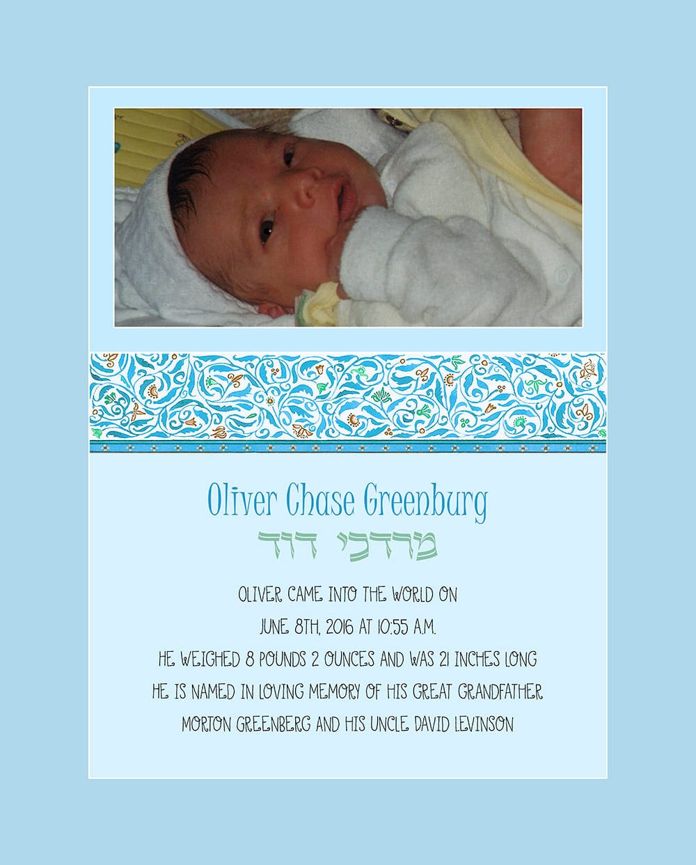 Baby Boy Cutie Pie Blue Baby Wall Art G-BB-15b by Mickie Caspi