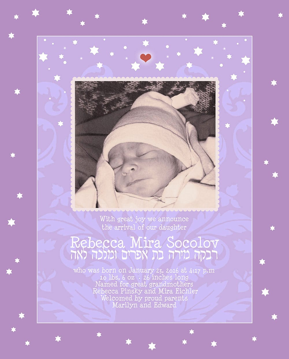 Baby Girl Starry Night Violet Baby Wall Art G-BG-13a by Mickie Caspi