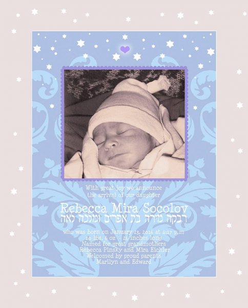 Baby Girl Starry Night Blue Baby Wall Art G-BG-13d by Mickie Caspi