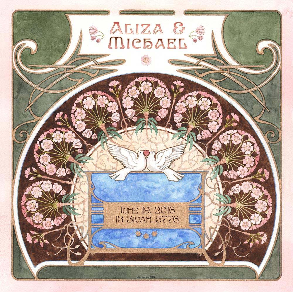 Lovers Gift LG-4a Nouveau Fan Green by Mickie Caspi