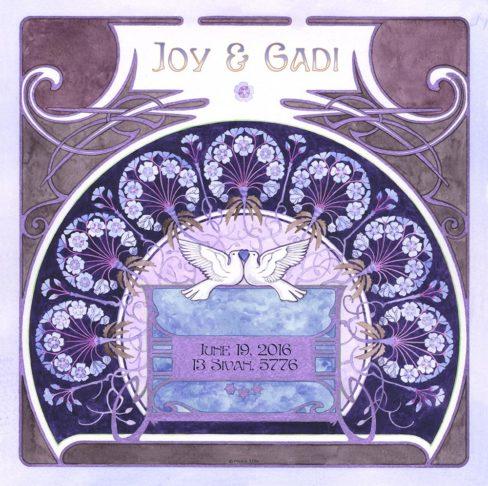 Lovers Gift LG-4c Nouveau Fan Blue by Mickie Caspi