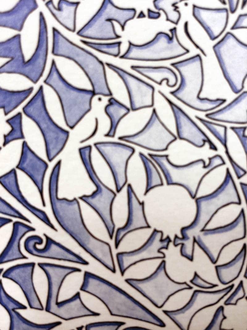 17-1 Heirloom Lilac Silhouette Ketubah by Mickie Caspi