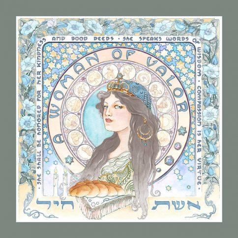 Eshet Chayil Art Nouveau Wall Art GREY BLUE