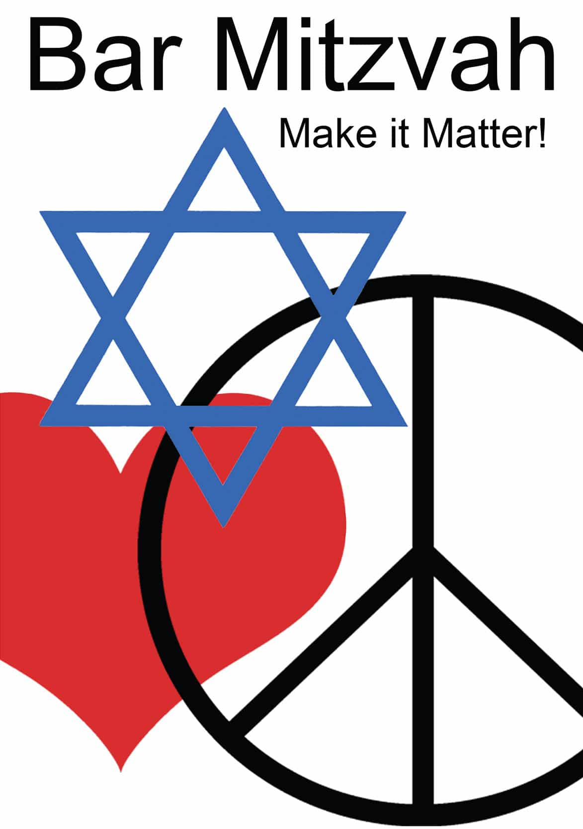 BR618 Peace Bar Mitzvah Greeting Card by Mickie Caspi