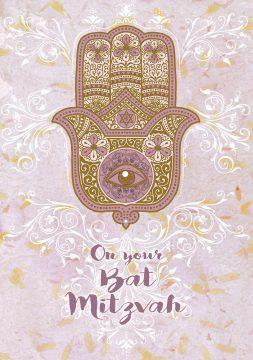 BT622 Bat Mitzvah Pastel Hamsa Greeting Card by Mickie Caspi
