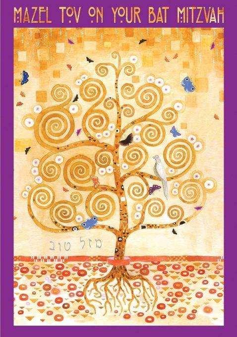 BT623 Bat Mitzvah Tree of Life Klimt Greeting Card by Mickie Caspi