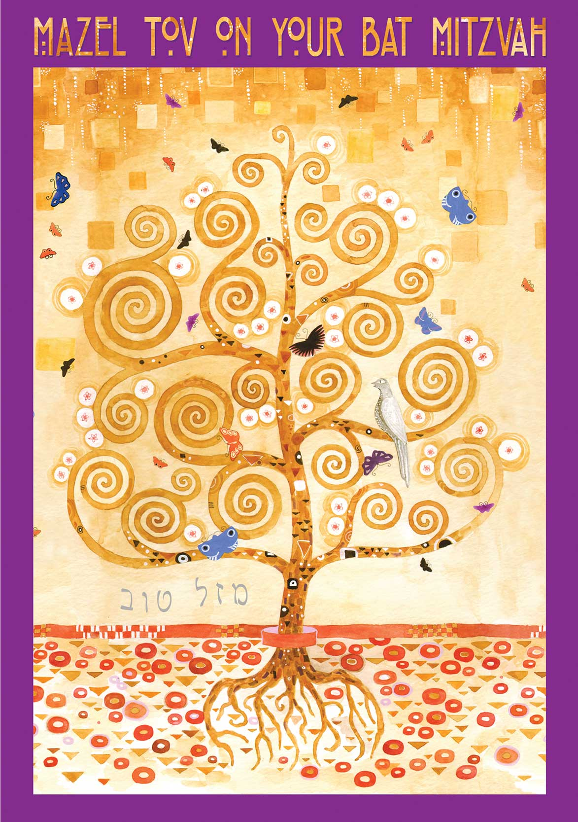 BT623 Bat Mitzvah Tree of Life Klimt Greeting Card by Mickie Caspi