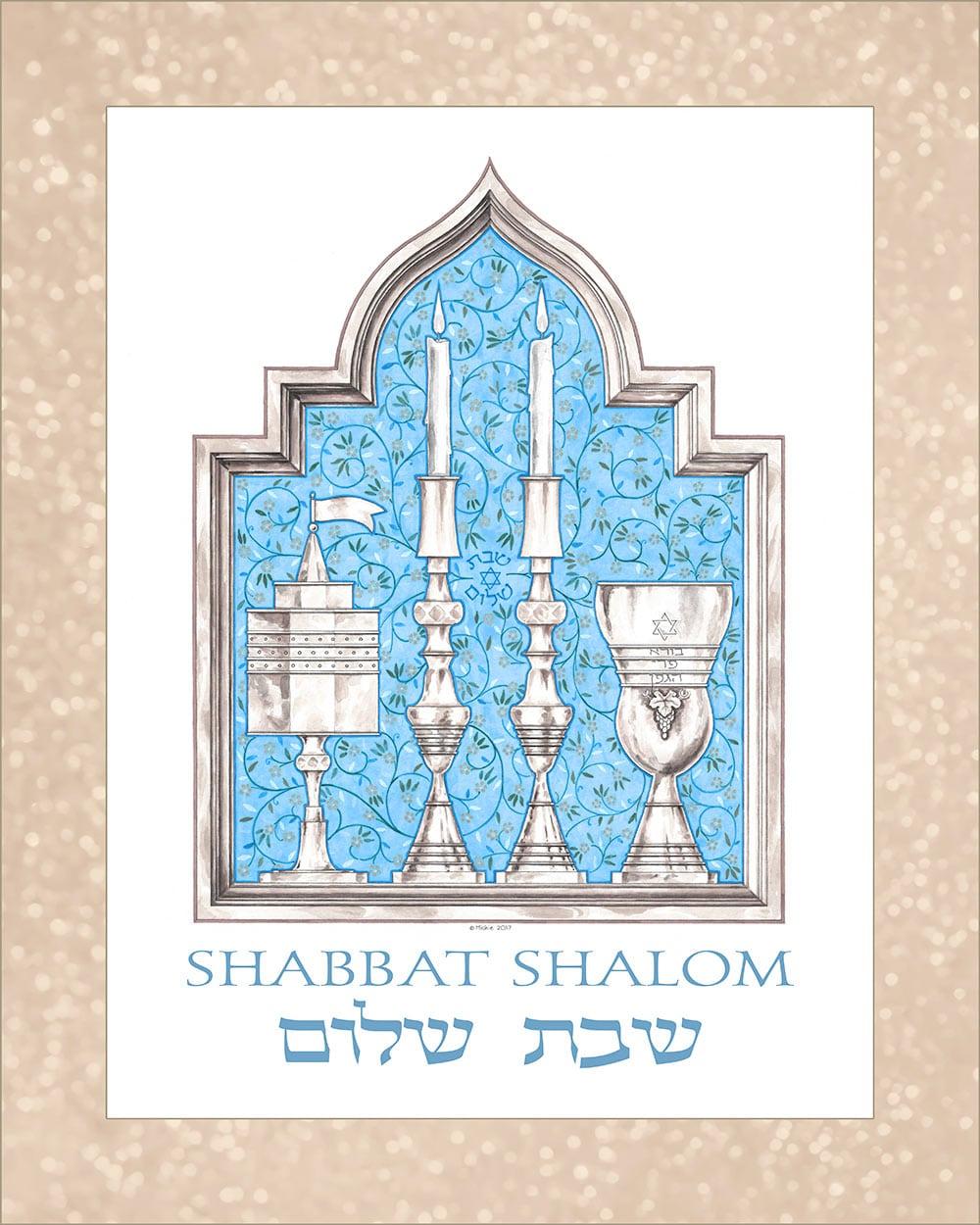 GA-2a Shabbat Shalom Wall Art BLUE