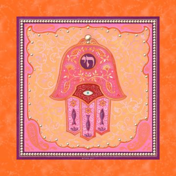 GA-3a Hamsa Wall Art ORANGE