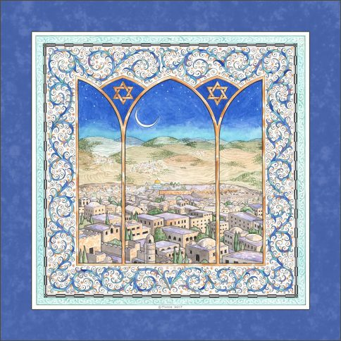 Jerusalem Wall Art ULTRAMARINE