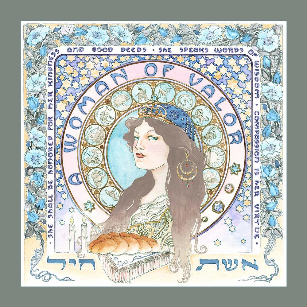 GA-7d Eshet Chayil Art Nouveau Wall Art GREY-BLUE