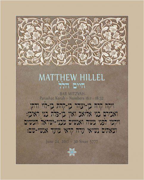 Personalized Bar Mitzvah Lattice Parasha Certificate