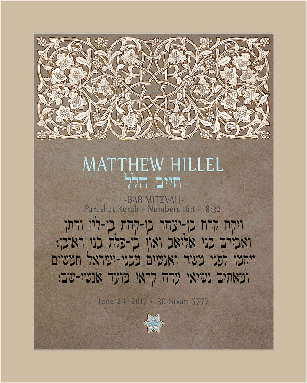 Personalized Bar Mitzvah Lattice Parasha Certificate