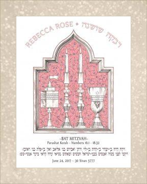 Personalized Bat Mitzvah Shabbat Parasha Certificate