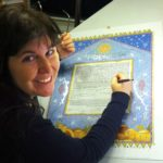 Hand Calligraphy on Lithograph Ketubah by Mickie