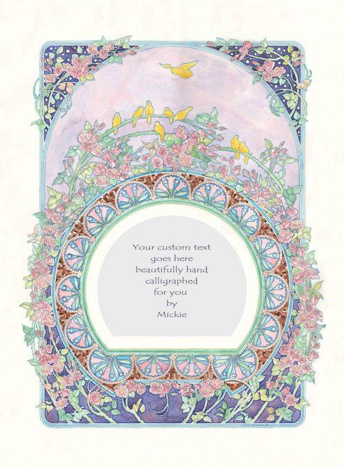 Roses & Birds Original Ketubah by Mickie Caspi