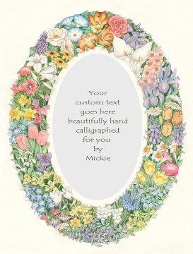 Oval Floral Original Ketubah by Mickie Caspi