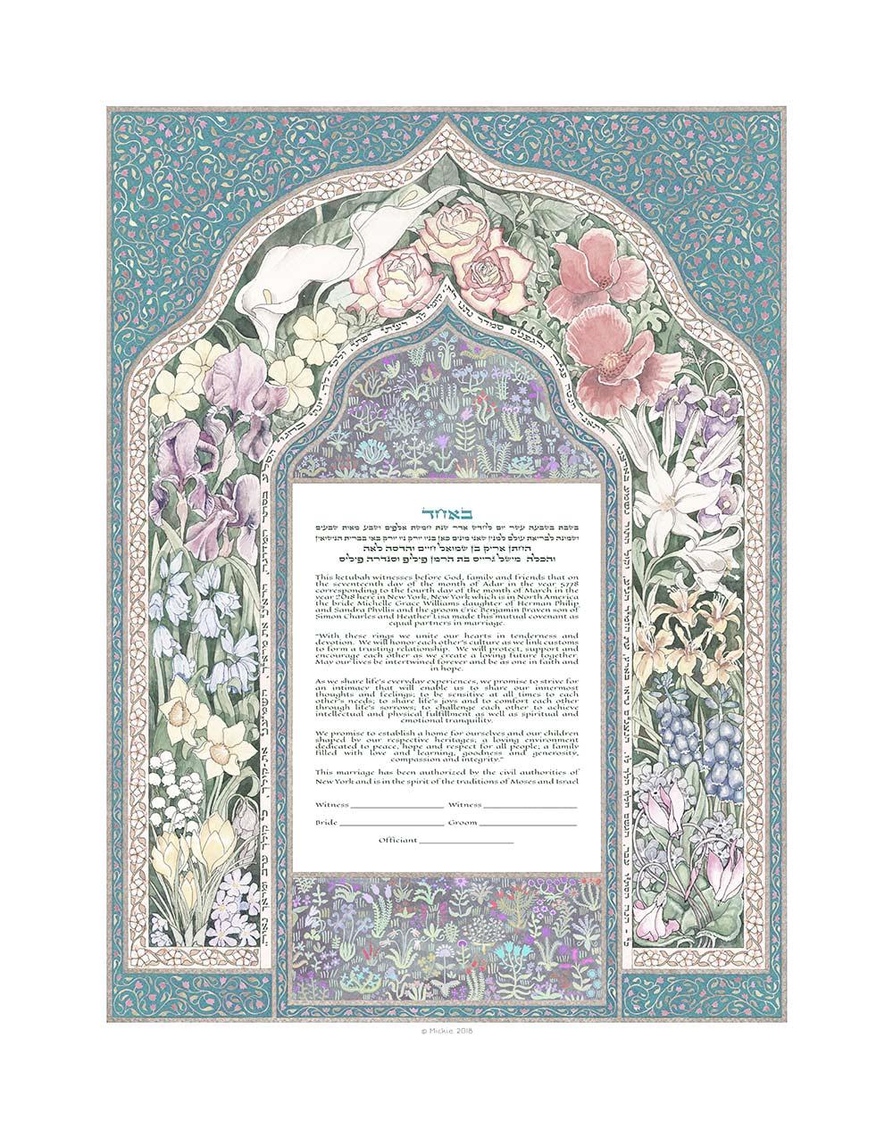 Persian Flower Giclee Ketubah SLATE