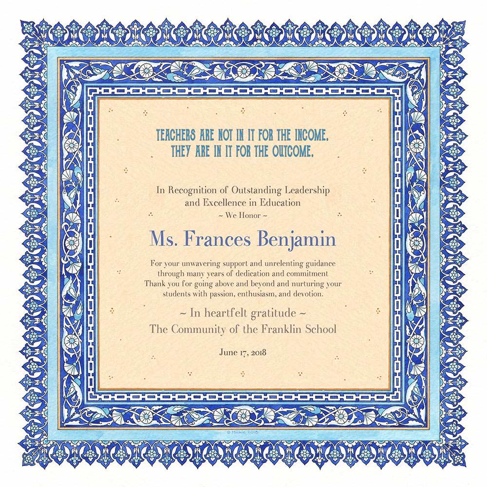 Teacher Appreciation Persian BLUE