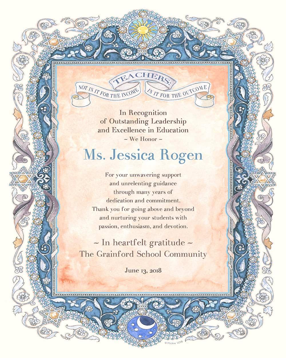 Teacher Appreciation Parchment SAPPHIRE